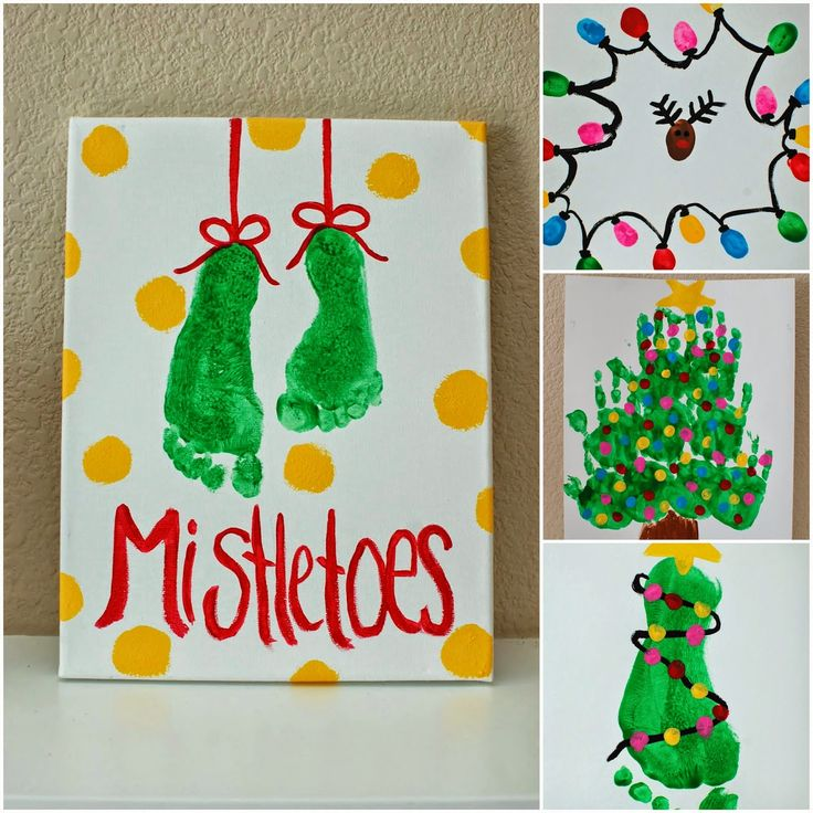 Kids christmas projects foot prints hand prints and for Hand and feet painting ideas