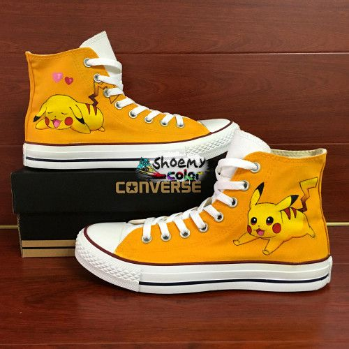 dd1d5038617f Converse Shoes Pokemon Pikachu Hand Painted Canvas Sneakers for Women