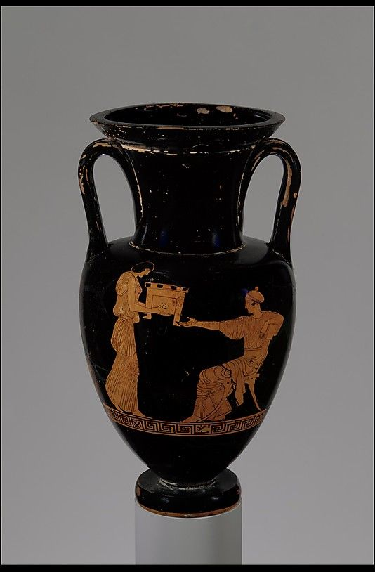 Terracotta Nolan neck-amphora (jar)  Attributed to the Painter of London E 317  Period: Classical Date: mid-5th century B.C. Culture: Greek, Attic