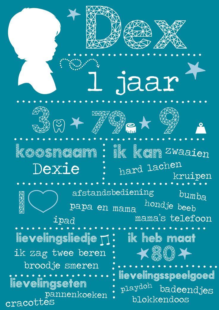 eerste verjaardag 1 jaar kaart kind uitnodiging origineel op maat blauw sterren