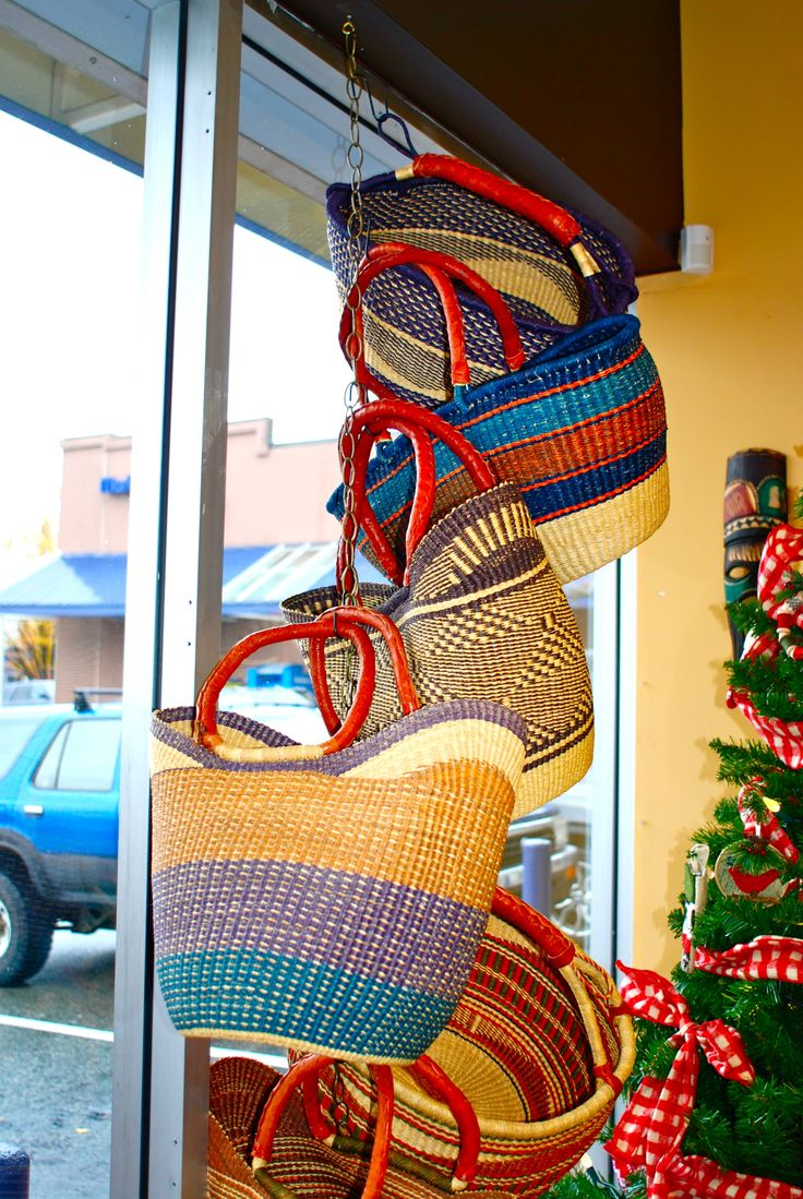 Beautiful Ghana baskets are unique in color, size, and shape! Handy to carry grocery's, kids toys in the car, or a blanket and picnic for those warm summer days!!