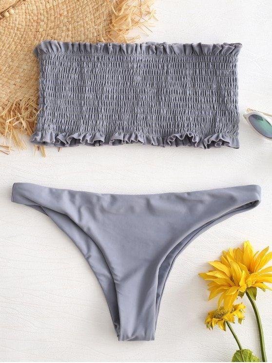 Ruffle Smocked Bandeau Bikini Set   BEE YELLOW LIGHT SLATE GRAY RED WINE