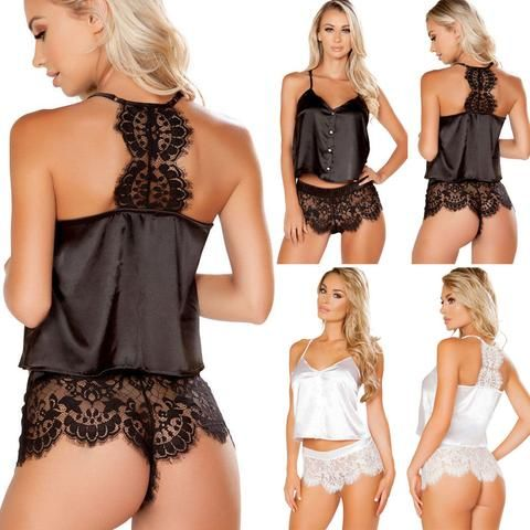 cfe99b837c 2018 2Pcs Women Sexy Satin Lace Sleepwear Babydoll Lingerie Nightdress  Pajamas Set Flower Hot Shorts+