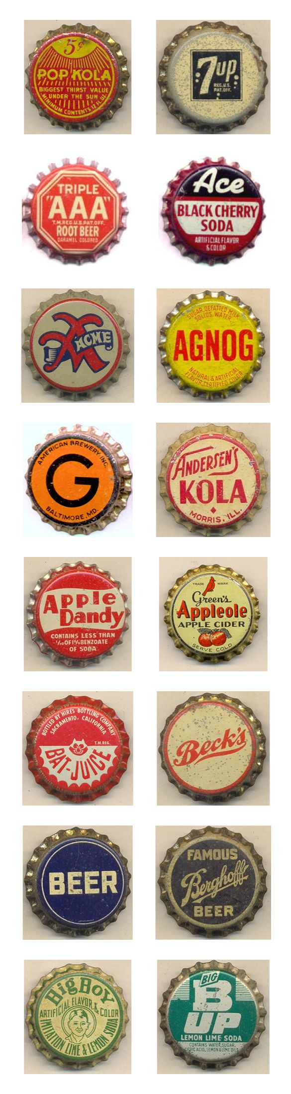 """vintage bottle caps - from Kenny Yohn's """"The Bottle Cap Man"""" collection"""