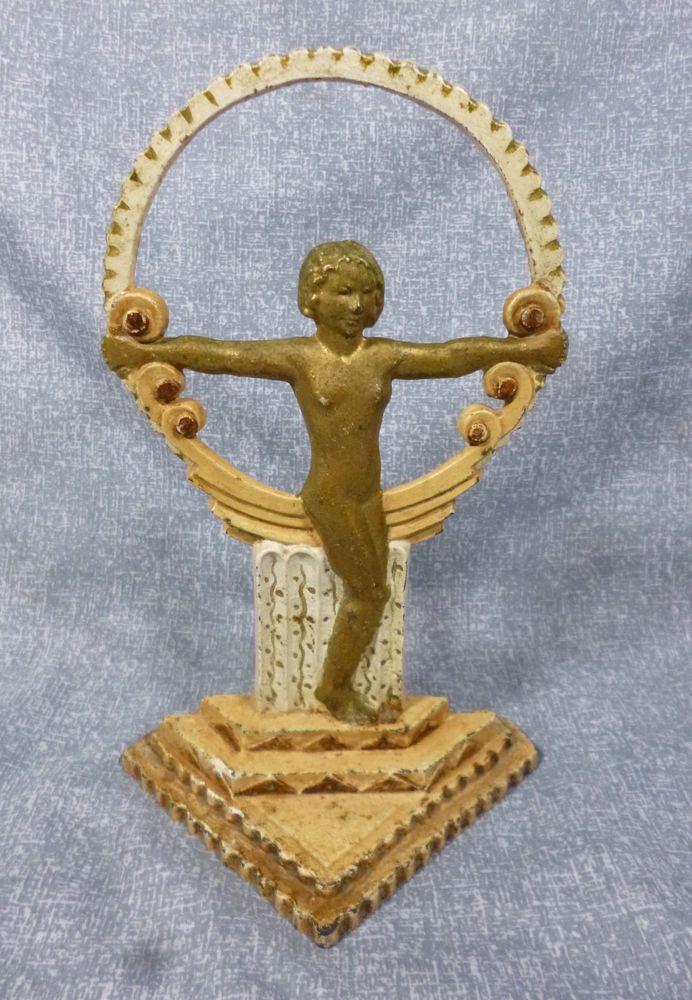 Antique Cast Iron Art Deco Nude on Pedestal Doorstop #Artdeconude #Unknown