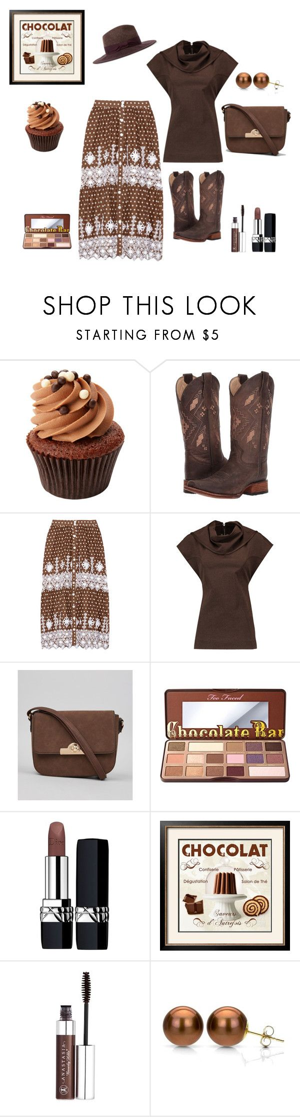 """Chocolat"" by chauert ❤ liked on Polyvore featuring Corral, Miguelina, Rick Owens, New Look, Too Faced Cosmetics, Christian Dior, Artistica, Anastasia Beverly Hills, DaVonna and Paul Smith"