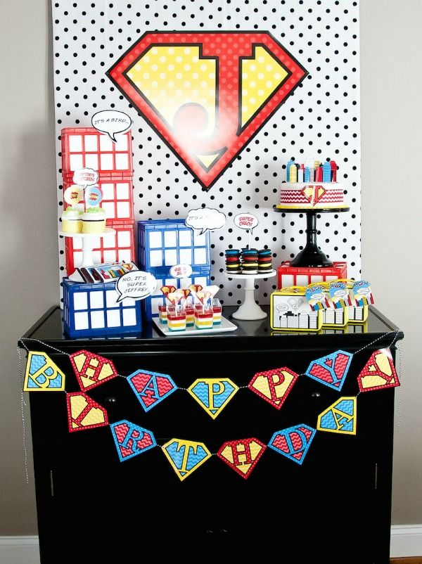 Superhero Party Ideas - Dollar Store (Big Lots) small crates + white paper = BUILDINGS!  Check! (add superhero stickers to some of the windows!