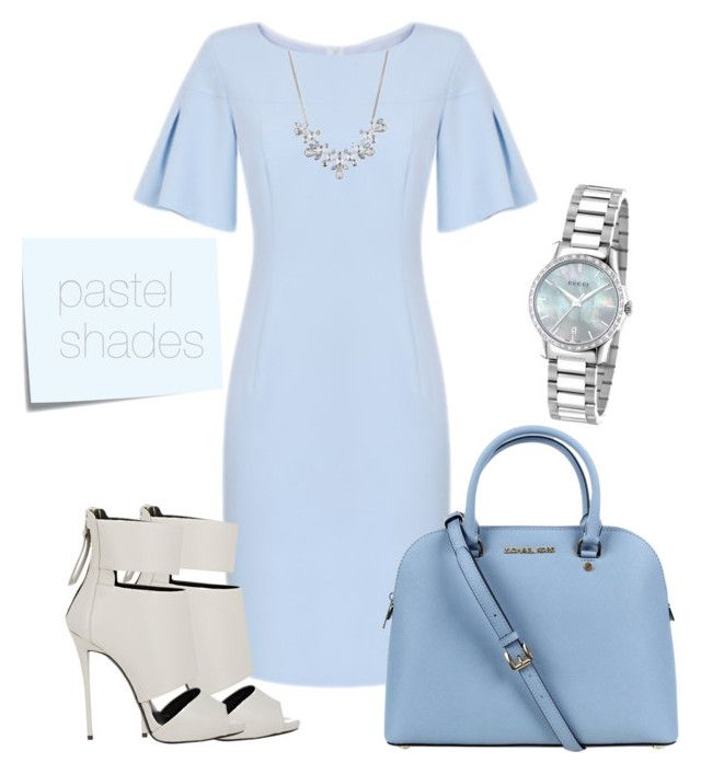 """""""Pastel shades"""" by horemka on Polyvore featuring Michael Kors, Giuseppe Zanotti, Post-It, Givenchy, Gucci and lightblue"""