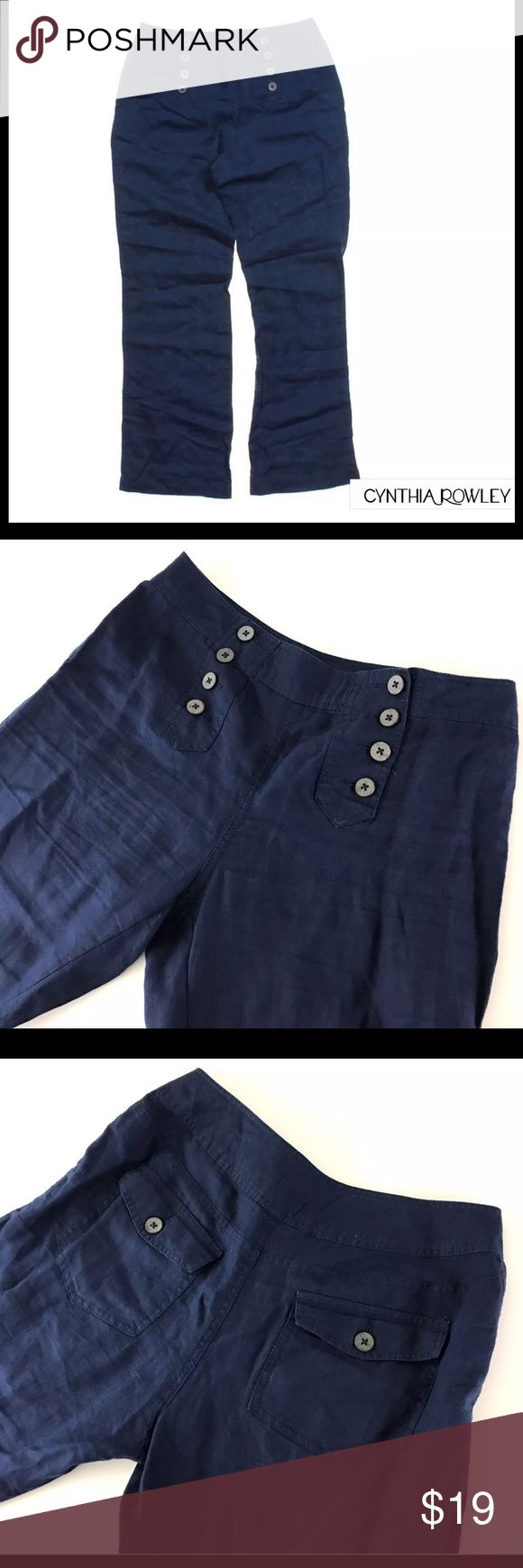 "Cynthia Rowley Linen Pants Casual Cynthia Rowley   Sailor Style Pants  100% Linen  Casual Navy Blue Nautical Trousers  Women's 8   Pre owned Pants, in Good Shape  No Holes or Stains   Measurements:  Waist:16""  Inseam:31""  Leg Opening:9.5""  Total Length:40.5""     Item comes from a pet free/smoke free clean environment  please contact me for any additional questions  I offer combined shipping Cynthia Rowley Pants Boot Cut & Flare"