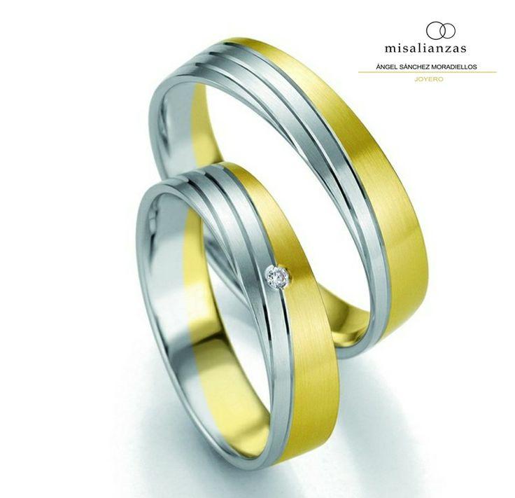 #Alianzas modernas bicolor de oro blanco y amarillo de 18 quilates #boda #novios #anillos