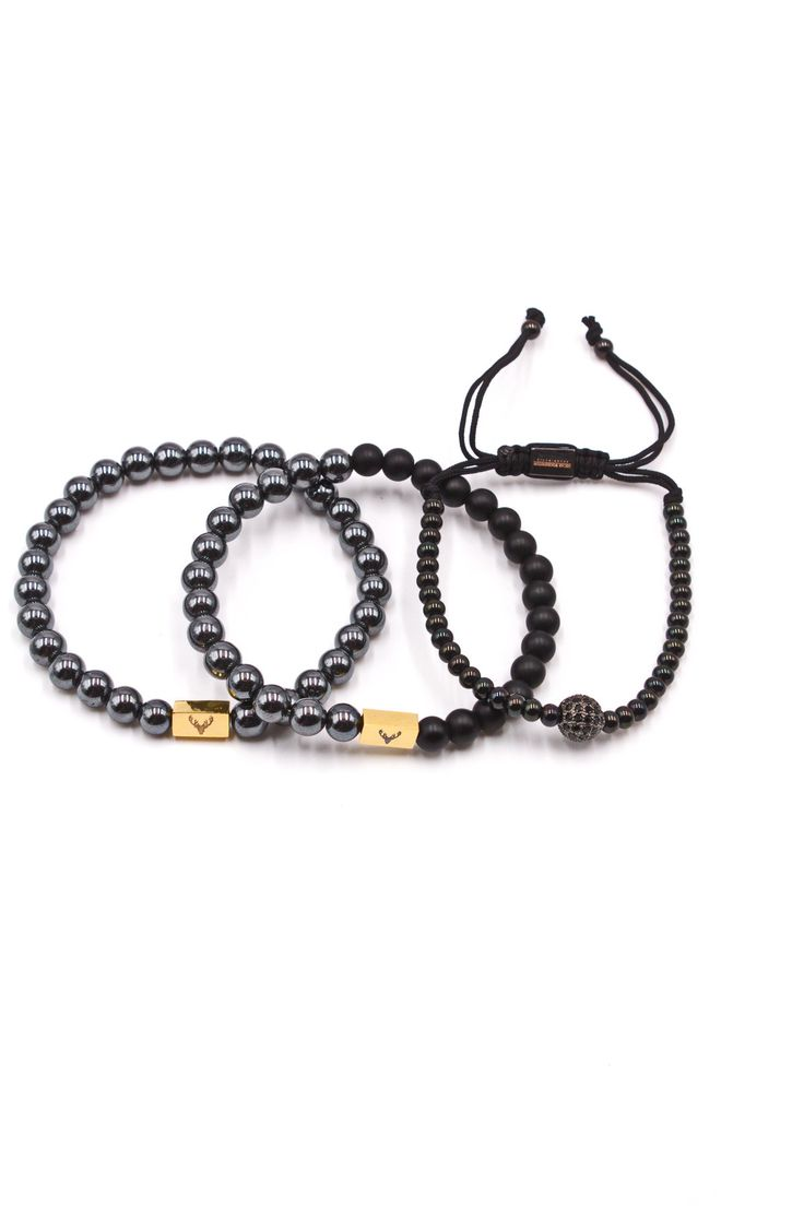Men's 3-Pack Beaded Bracelet Hematite Crystal Set