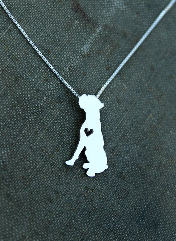 Boxer dog necklace sterling silver tiny silver by justplainsimple, $45.00