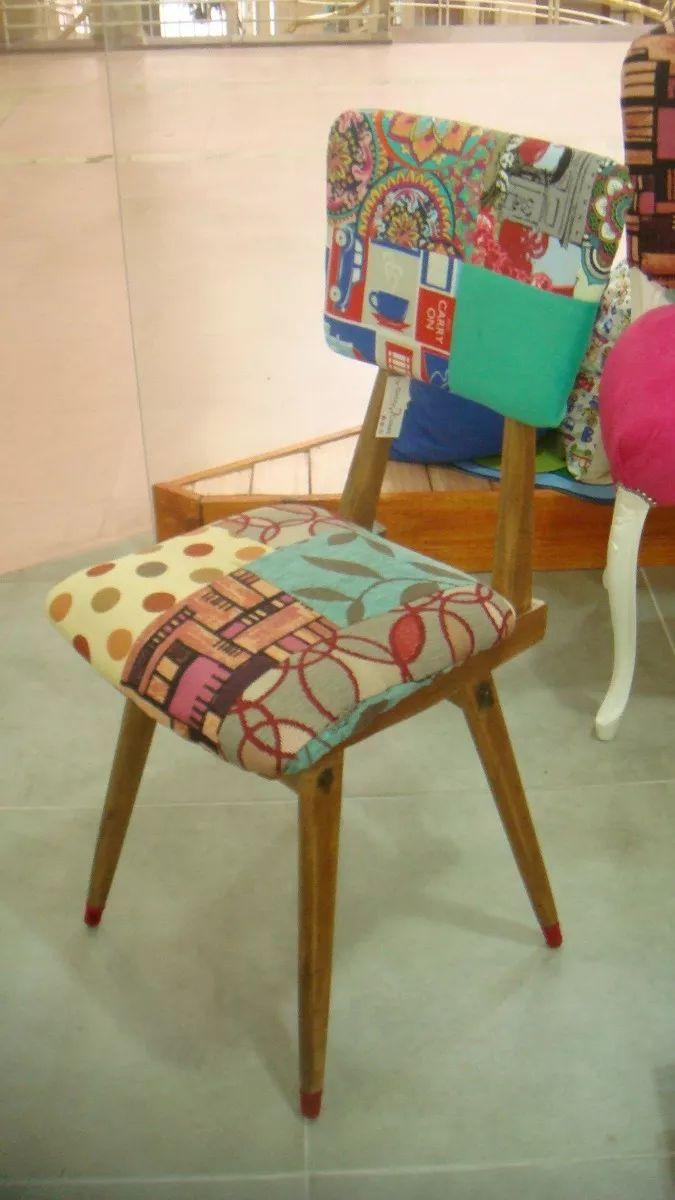 *deco-cosas* silla vintage/retro intervenida c/patchwork!!!