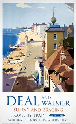 British Railways Travel Poster print, Deal and Walmer, Kent, Sunny and Bracing, Travel by Train. Art by Frank Sherwin.
