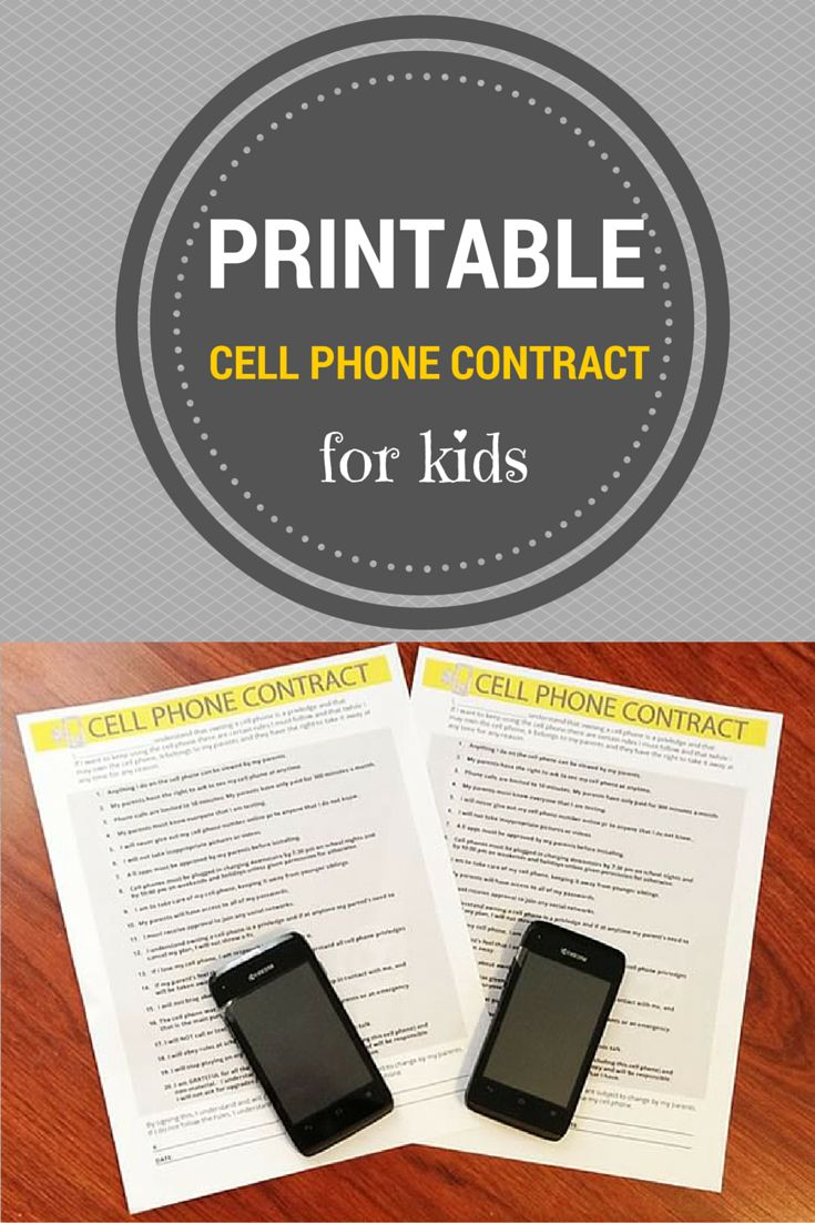 Printable Cell Phone Contract for Kids - start your child's relationship with their phone off on the right track with this cell phone contract. This contains do's and don'ts to help your child best understand the rules when it comes to using their cell phone.