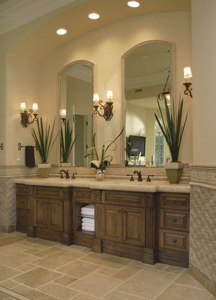 Master Bath Bathroom Lighting Tiled Floors Simple Vanity With Open Towel  Pantry Beautiful