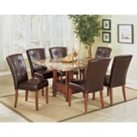 7 pc Bologna square faux brown marble dining table set with storage pedestal base and leather like vinyl upholstered chairs with button tufted backs. This set includes the table with a faux marble top and 6 chairs upholstered with leather like vinyl upho