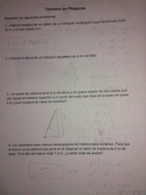 Matemáticas sesión 2- resolución de problemas de teorema de Pitágoras.