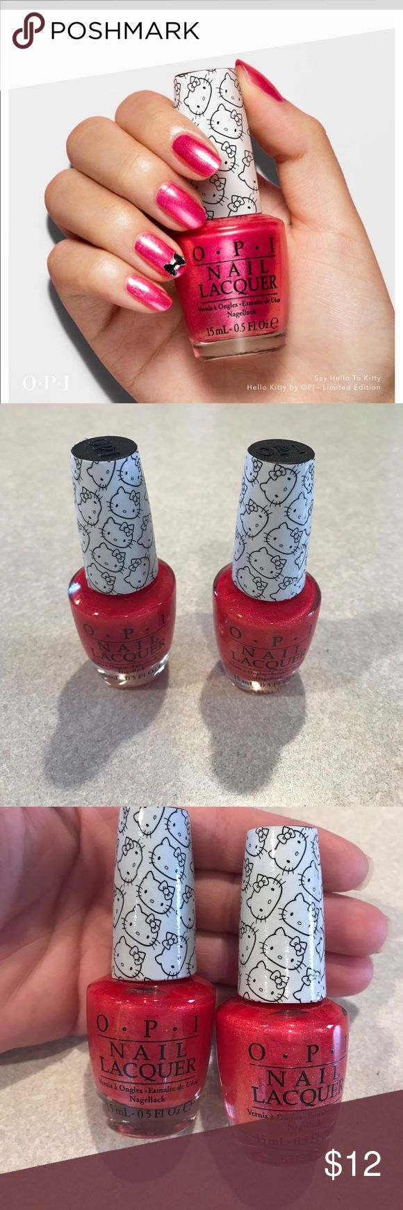 """Hello kitty OPI Nail polish Bought in a set and these two just are not the color I was hoping for. Never opened brand new. Limited edition hello kitty in color """"say hello kitty"""". Let me know if you have any questions OPI Makeup"""