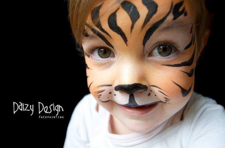 Daizy Design face painting. Ideas para hacer pintacaras. Tigre