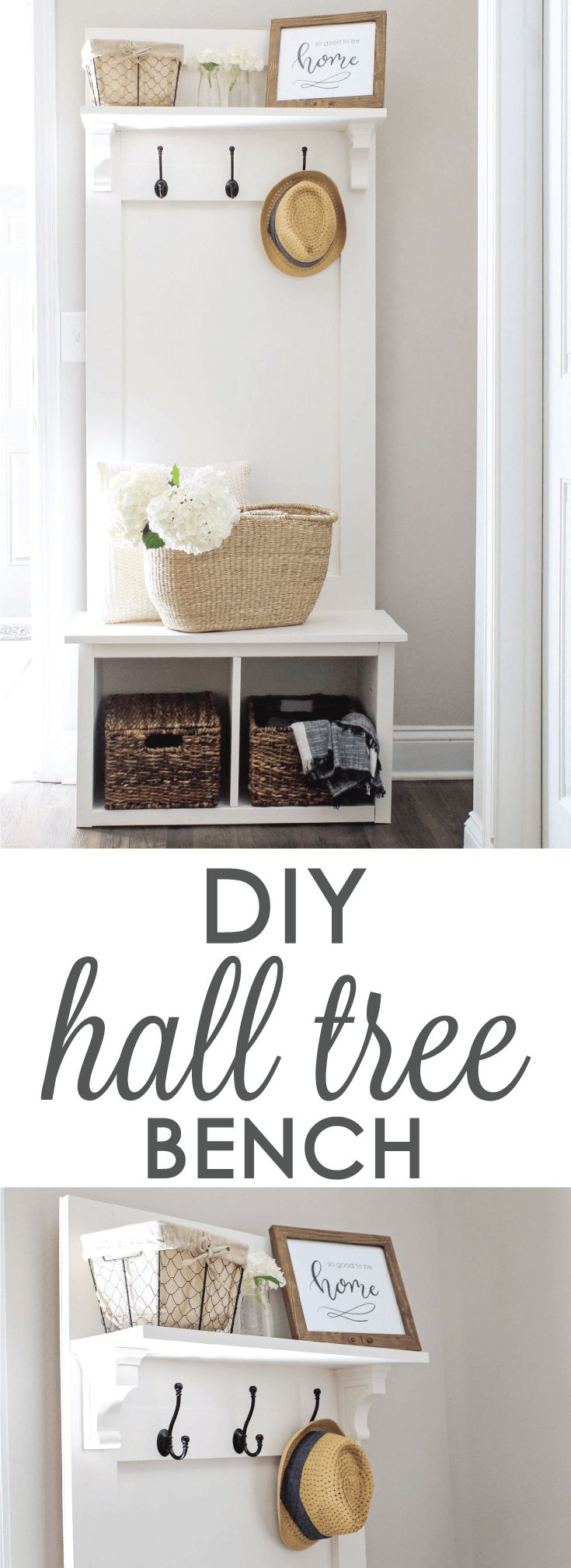 Since we moved into our apartment, I really wanted to build a cute hall tree bench for a little corner by our front door where we desperately needed some organization and a place to p…