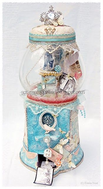 altered bubblegum machine how great would this be as a Christmas snow globe using terra cotta pots