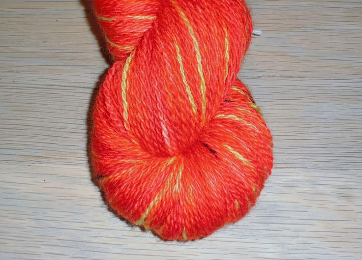 Red Orange Hand Dyed Bluefaced Leicester Wool Sock Yarn, 2-ply Flora Danica Poppy, Made in Denmark.