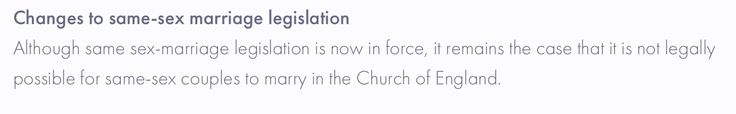 Church of England won't let gay ppl of that faith marry in Church of England church ....👎🏻