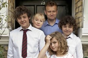 Outnumbered. Image shows from L to R: Jake (Tyger Drew-Honey), Sue (Claire Skinner), Pete (Hugh Dennis), Karen (Ramona Marquez), Ben (Daniel Roche). Image credit: Hat Trick Productions.