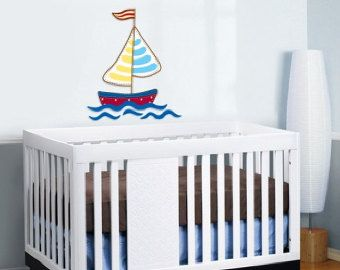 Nursery wall decal - kids sail boat decal - Removable vinyl wall decal - nursery sticker mural
