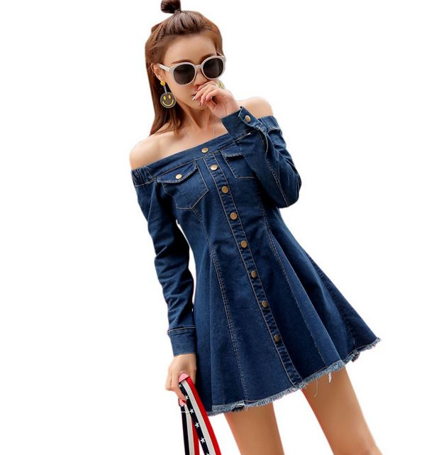 Womens Off-Shoulder Dresses A Mid Length Denim Slim Fit Skirts Buckle Vantage E7
