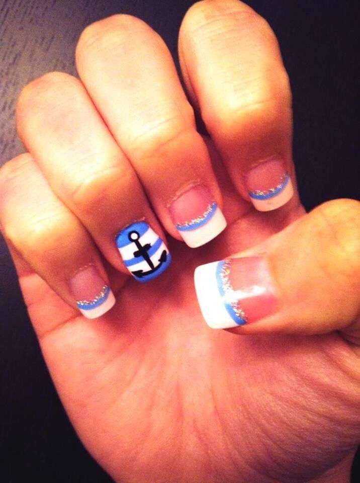 Anchor nails | Mine:) | Acyrlic nails, Nails, Anchor nails