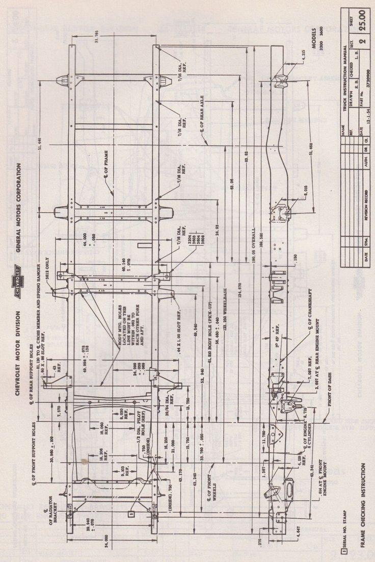 1955 Chevy 3600 3 4 Ton Frame Plans Trucks