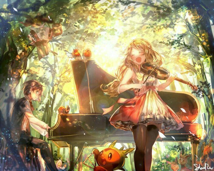 Anime girl, boy, playing, violin, piano, Pokémon, forest, smiling; Pokémon