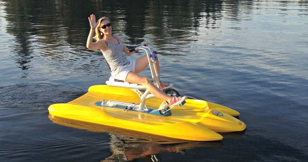 Fitness fun on our water bike - twice as fast as a pedal boat!