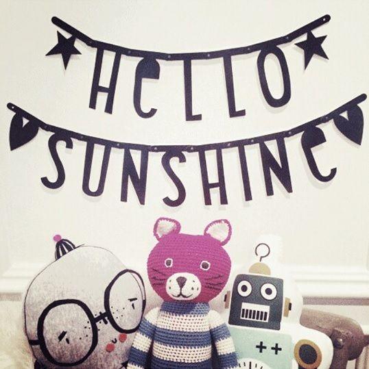#Wordbanner #tip: #Hello #sunshine - Buy it at www.vanmariel.nl - € 11,95