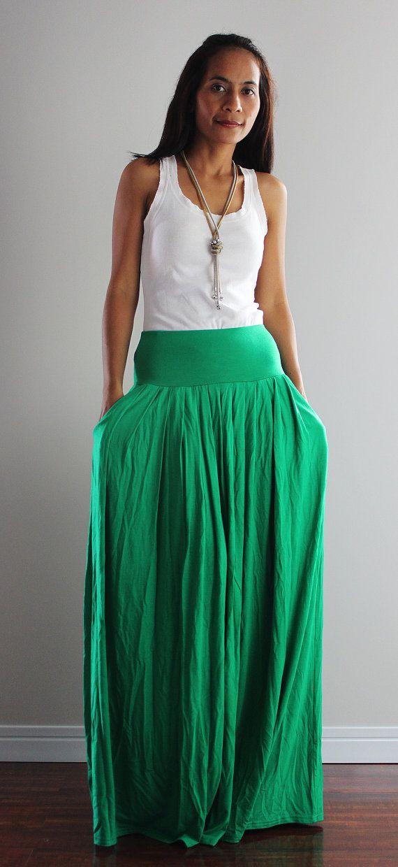 Maxi Skirt -  Long Green Skirt : Autumn Thrills Collection