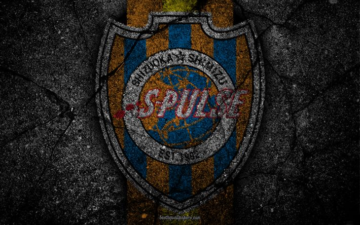 Herunterladen hintergrundbild shimizu s-pulse -, logo -, kunst -, j-league, fussball, fußball-club, shimizu fc -, asphalt-textur