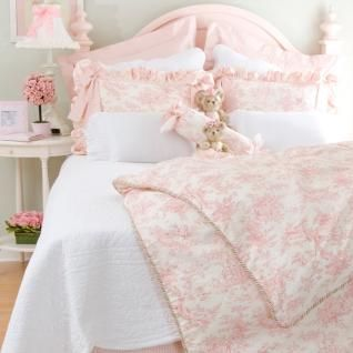 Isabella By Glenna Jean Pink Toile Bedding 4 Pc Set   Duvet, Dust Ruffle,