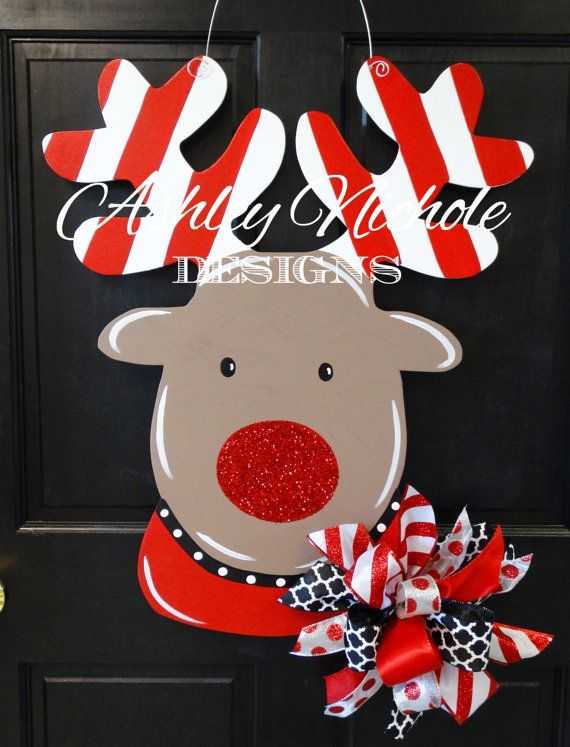 Rudolph the Red Nosed Reindeer Door Hanger by DesignsAshleyNichole