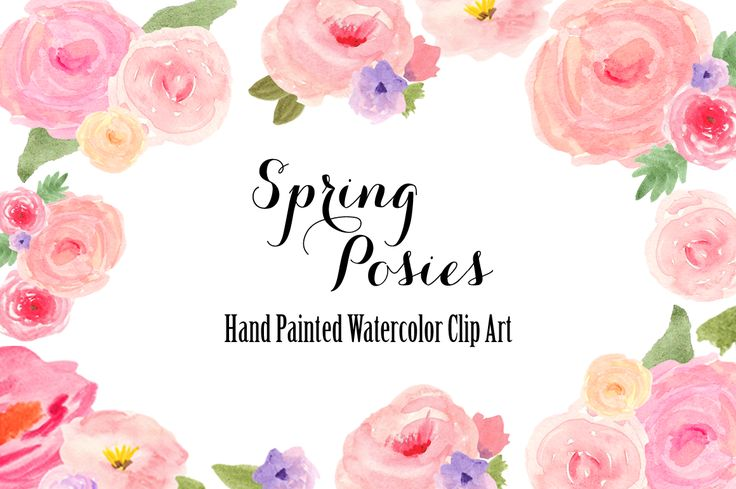 Watercolor Spring Flowers Clip Art by Bella Love Letters on @creativemarket