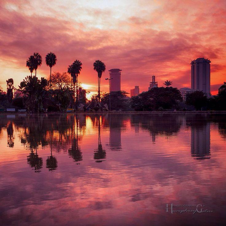 Nairobi Kenya skyline at sunset. Taken from Uhuru Park in the city [1200x1200]