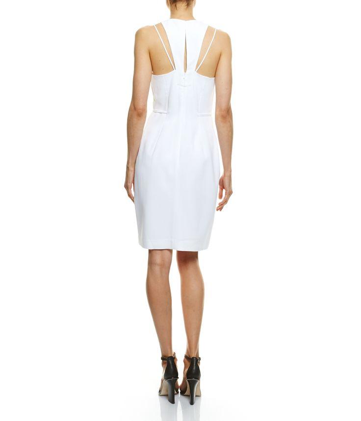 SABA Issie Draped Dress, OPTIC WHITE