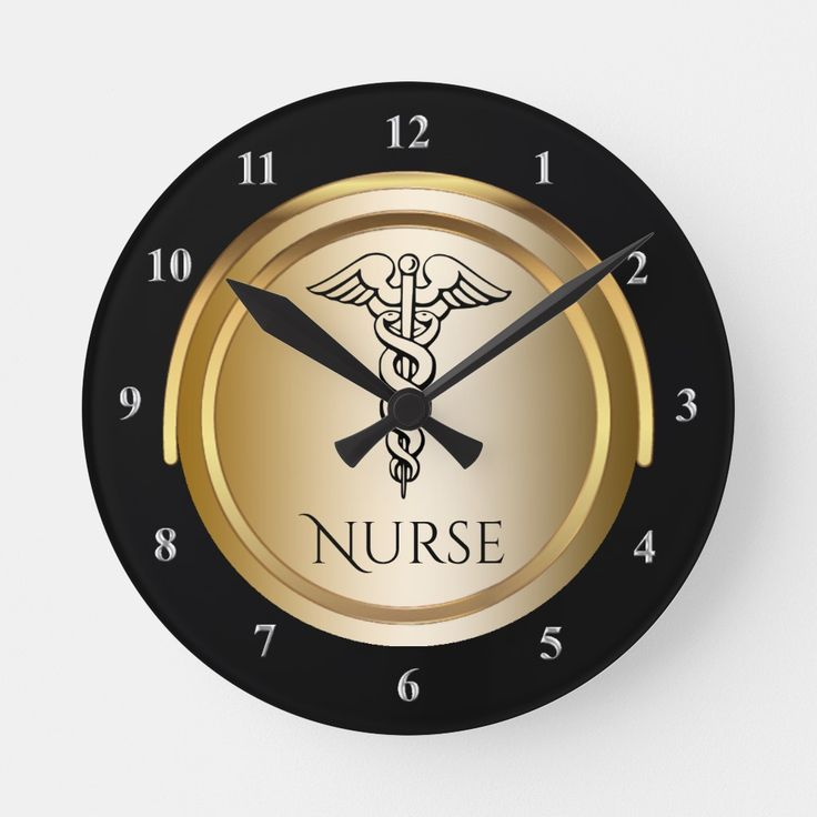 Caduceus Medical Symbol Registered Nurses LPN RN Round Clock
