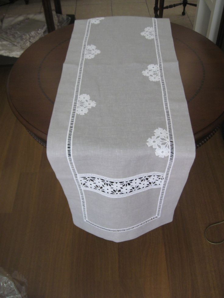 lacework & linen table runner