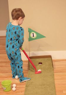 DIY Putting Green - Did this, my kiddo wasn't all that interested, but might pull it out again on a rainy day.