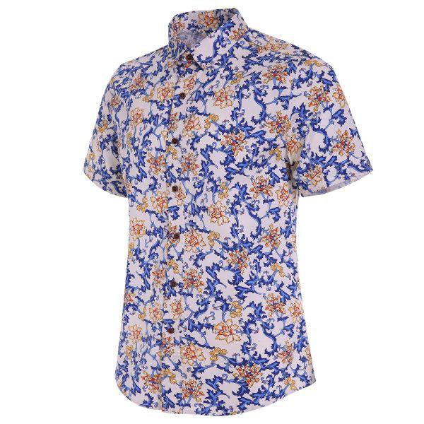 Hawaiian Style Printing Thin Breathable Short Sleeve Dress Shirts for Men