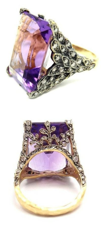 Cathy Waterman gold, diamond and amethyst winged ring. Via Diamonds in the Library.