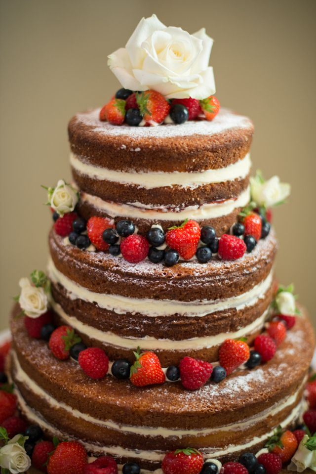 Naked Victoria Sponge Layer Cake Fruit Flowers Charming Orange Navy Rustic Wedding http://www.kayleighpope.co.uk/