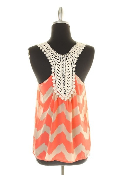 The Texas Cowgirl - Coral Chevron Crochet Back Tank Blouse, (http://www.thetexascowgirl.com/coral-chevron-crochet-back-tank-blouse/)